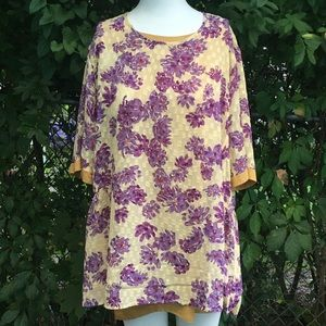 LOGO By Lori Goldstein Lined Tunic Top 2 Pieces M